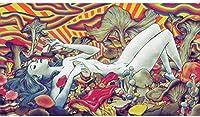 モダンペインティングマジックサイケデリックマッシュルームポスタープリントヴィンテージウォールアート写真リビングルーム家の装飾60x80cmフレームなし