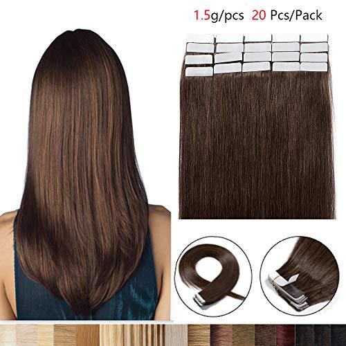 Extension Capelli Veri Biadesivo 20 Fasce 100% Remy Human Hair 40cm #4 Marrone Cioccolato 30g/Set