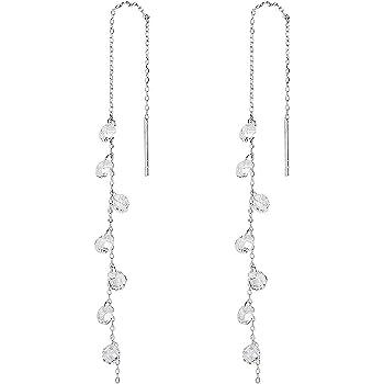 MSECVOI 925 Sterling Silver Tassel Drop Earrings Long CZ Droplet Dangle Threader Earrings for Women