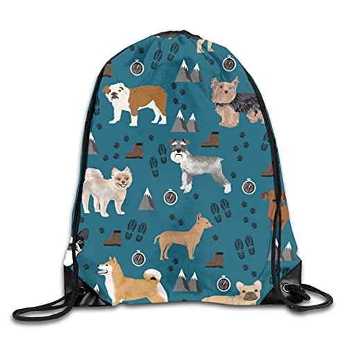 Dyfcnaiehrgrf Lindo perro de moda con cordón bolsas mochilas bolsa de deporte bolsa de hombro a granel para viajes deportes gimnasio yoga 16.0 '14.2'