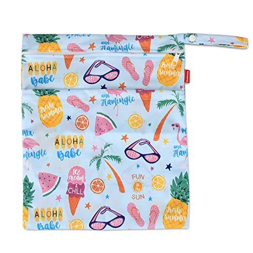 Damai Damero 防水バッグ オムツポーチ 3点セット かわいい 多機能 オムツ 着替え 水着 お風呂用品 タオル 食事セット入れ S+M+L,夏の風