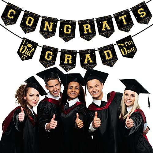 Bandera de Empavesado de Fiesta de Gtaduación 2021 Guirnasl de Fiesta de Clave de Éxito Felicitaciones Graduados Negro Oro Señal de Guirnalda Colgante para Decoarción Fiesta