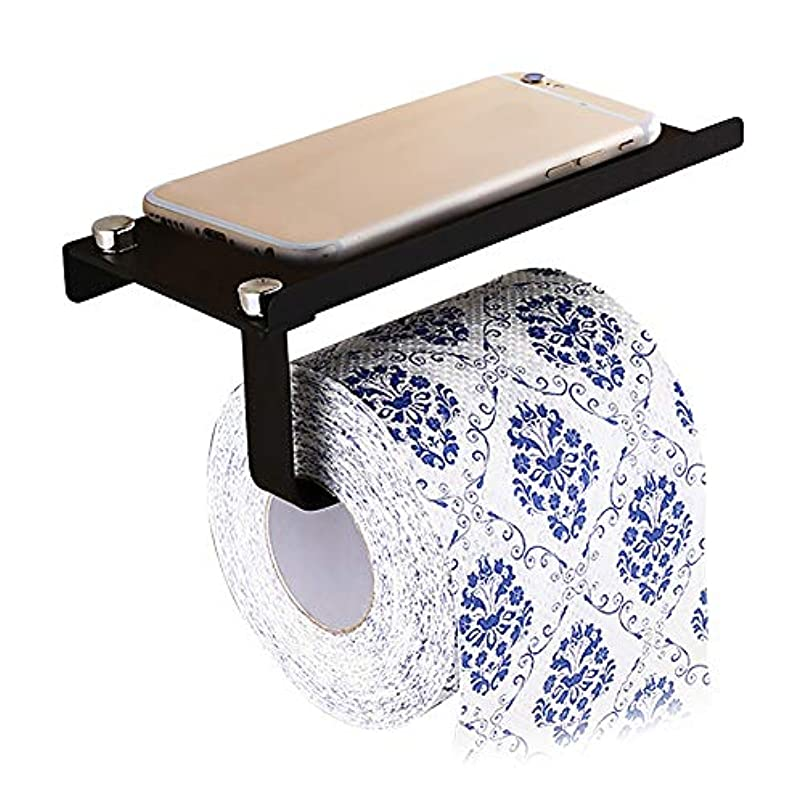MDX Wall Toilet Paper Holder with Mobile,Bathroom Tissue Holder Storage Shelf Toilet Paper Roll Holder SUS304 Stainless Steel,Bathroom Accessories (Black) heiejblw293562