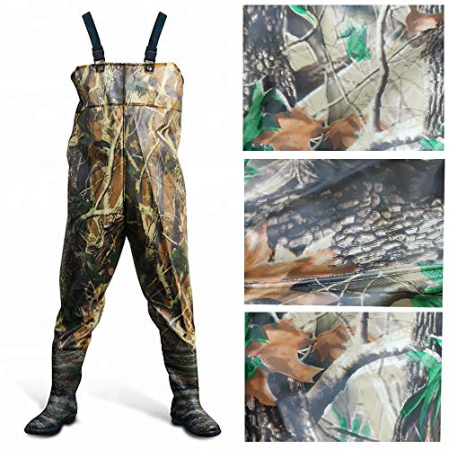 Men Waders Waterproof Camouflage Chest Waders Boot Foot Chest Wader Light Hunting Fly Fishing For Men With Boots Overalls for Fishing Leisure Water Gardening or Agriculture (Camouflage, UKSize 11/45)