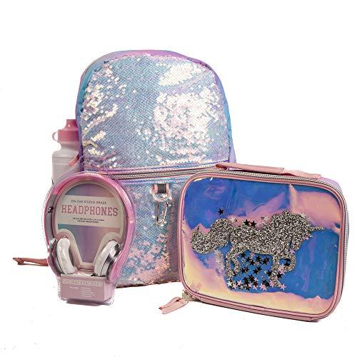 Unicorn Flip Sequin Backpack Set for Girls w/Lunchbox, Headphones, & Water Bottle - 5 Pc. Set