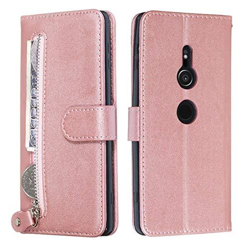 YINCANG Capa para Sony Xperia XZ3, couro PU macio TPU fecho magnético zíper carteira porta-cartão suporte capa protetora para Sony Xperia XZ3 15 cm ouro rosa
