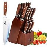 Set di 16 coltelli da cucina Vestaware, con blocco di legno, affilacoltelli, forbici da cucina, 6 coltelli da bistecca in acciaio inossidabile