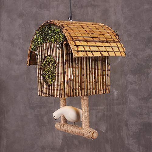 Sebasty wall lamp light Retro Bamboo Bird Cage Chandelier Industrial Wind Clubhouse Restaurant Cafe Shop Clothing Store Decoration Living Room Chandelier Lamps Lighting 63 * 36 * 22cm
