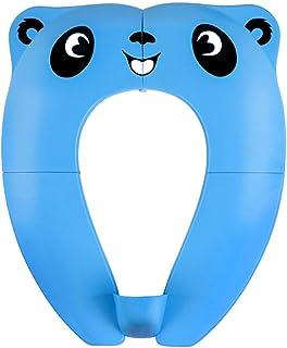 Asiento de Inodoro Plegable para Niños Orinal Portátil Bebés Reductor WC Asientos Adaptador pare Casa y Viaje con 8 Pcs Almohadillas de Silicona Antideslizantes y 1 Bolsa (Azul)