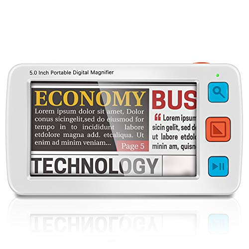 Kacsoo - Lupa digital portátil LCD de 5,0 pulgadas, ayuda a la lectura electrónica portátil para baja visión y herramienta de lectura electrónica ciega, soporta zoom 4x-32x (White)
