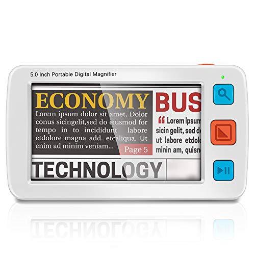KKTECT Ausilio di lettura elettronico con lente d'ingrandimento digitale video portatile LCD da 5 pollici Supporta l'uscita HDMI AV per TV 4X-32X volte Zoom Aiuto ideale per la lettura ipovedente