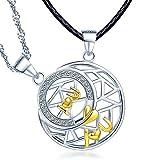 Infinito U - Colgante Pareja de Plata de Ley 925 Colgante de Luna y Estrella Circónita Incrustado Patrón Geométrico único Regalo de San Valentín para Hombre y Mujer