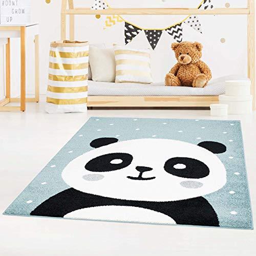 carpet city Kinderteppich Bubble Kids Flachflor Panda-Bär, weiß gepunktet in Petrol-Blau für Kinderzimmer; Größe: 80x150 cm