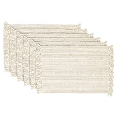 DII Tonal Fringe Placemat, Set of 6, Variegated Off White - Perfect for Fall, Thanksgiving, Dinner Parties, Weddings, Showers and Everyday Use