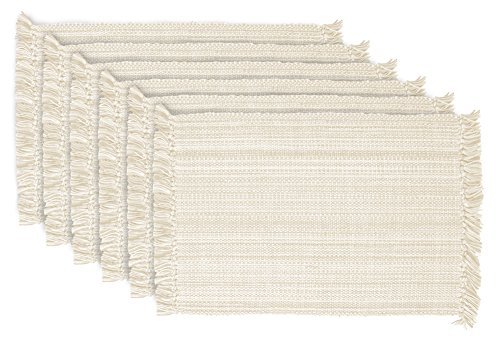 DII Variegated Tabletop Collection, Placemat Set, Off-White 6 Count