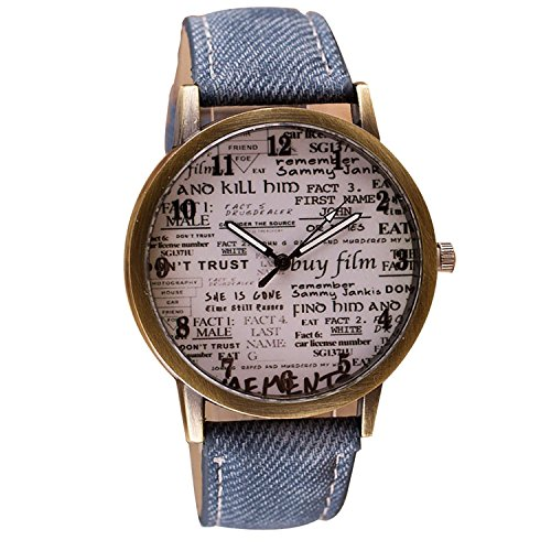 SAMGU Vintage Style Donna Uomo modello giornale casuale vigilanza casuale orologio colore blu