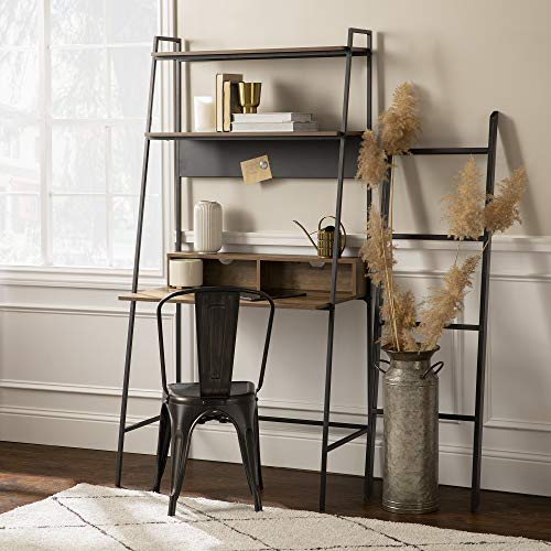 Walker Edison Freya Urban Industrial Ladder Desk with Metal Magnet Board, 36 Inch, Reclaimed Barnwood