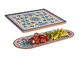 Juego de 2 platos de melamina para camping, diseño mediterráneo