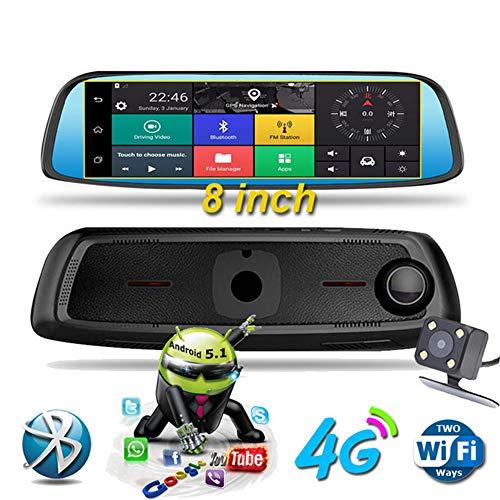 KAIFH Dashcam 4G Rückspiegel Fahren Recorder 1080P Umkehr Sprachsteuerung Android Navigationsgerät Bluetooth Elektronische Hund Nahtlose Schleife Aufnahme Bewegungserkennung Schwerkraftmessung