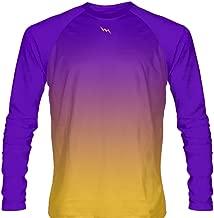 LightningWear Youth Purple Gold Fade Ombre Long Sleeve Shirts Basketball Long Sleeve Shirt, Blue