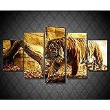 KGKBH 5 lienzos 5 unids/Set Pintura de Pared Animal caligrafía Tiger Arte de la Pared Cartel impresión Lienzo decoración del hogar Arte impresión Modular HD
