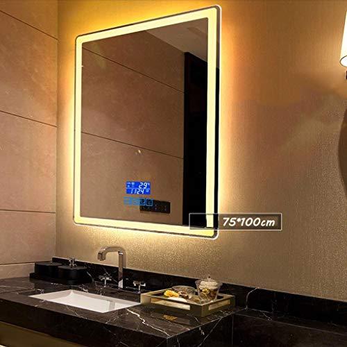 Wandspiegel, badkamerspiegel, badkamerspiegel, 750 x 1000 mm wandspiegel, verlichte LED-badkamerspiegel met anti-condens en lichtsensorschakelaar, Bluetooth voor slaapkamer