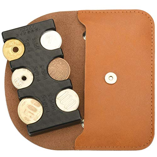 MM&UU Coin Holder with Mini Pouch, Invisible, Coin Storage, Can Classify Coins, Silicone Stopper, Does Not Drop Coins, Can Be Removed with One Hand, Black + Mini Pouch Brown (Exclusive Case Sold Separately)