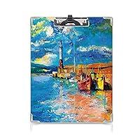 クリップボード アート ミニバインダー 油絵のトーンスタイルの灯台と海の海岸の町のボート沿岸の魅力画像装飾 用箋挟 クロス貼 A4 短辺とじ多色