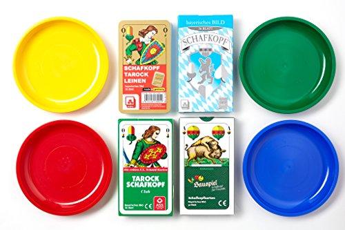 Set mit 4 Schafkopfkarten und 4 Geldschüsserl/Spielgeldteller/Schalen