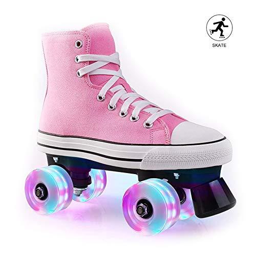 HealHeatersR dames canvas rolschaats klassieke roze Quad schaatsen met dubbele rij wiel helder leuke verlichting outdoor sport