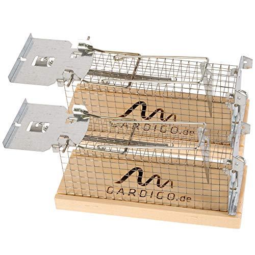 Gardigo Mausefalle Lebendfalle 2er Set Made in Germany I Tierfreundliche Lebendfalle für Mäuse I Mausfalle lebend I Kastenfalle, Käfigfalle I Indoor und Outdoor