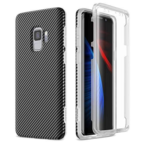 SURITCH Kompatibel mit Samsung Galaxy S9 Hülle 360 Grad Hüllen mit Integriertem Bildschirmschutz Silikon Komplettschutz Handyhülle Schutzhülle für Samsung Galaxy S9 Schwarz