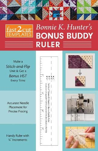 """FAST2CUT BONNIE K HUNTERS BONU: Make a Stitch-and-Flip Unit & Get a Bonus Hst Every Time • Accurate Needle Placement for Precise Piecing • Handy Ruler with ⅛\"""" Increments"""