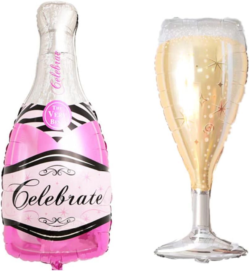 ballonfritz® Juego de globos, botella de champán y cristal, tamaño XXL, color rosa, como decoración de boda, bienvenida, regalo de fiesta o de recepción de champán