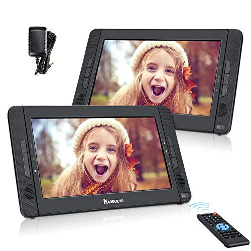 NAVISKAUTO 10,1 Zoll Auto DVD Player 2 Monitore Tragbarer DVD Player mit zusätzlichem Bildschirm 5 Stunden Akku Kopfstütze Monitor Fernseher Dual Bildschirm 1023