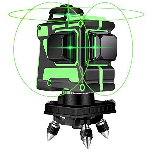 3 x 360 Kreuzlinienlaser Grüner, Laserpegel Selbstausgleichende, 3D 12 Linienlaser, IP 54 Wasserdicht USB-Ladeanschluss Selbstnivellierende Vertikale und Horizontale Linie (inklusive 2pcs Batterie)