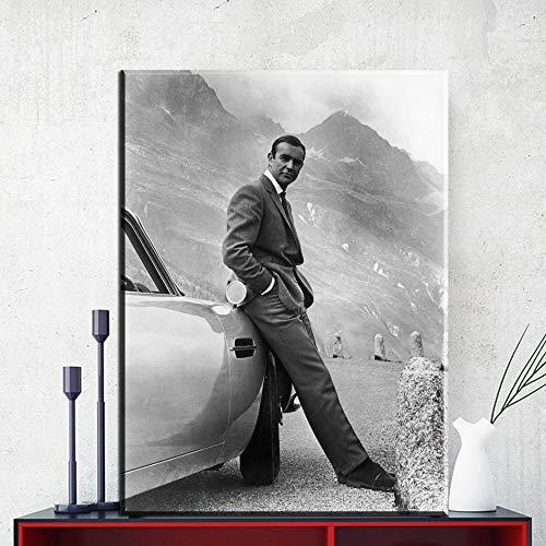 DHLHL Sean Connery.007, James Bond Goldfinger 1964, Goldfinger Directed Movie Poster con Stampa Artistica su Tela per Decorazione murale 50x70cm Senza Cornice