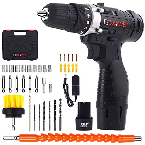 Cordless Drill with 2 Batteries  GOXAWEE Electric Screw Driver Set 100pcs Max Torque 30Nm 2Speed 10mm Automatic Chuck for Home Improvement amp DIY Project