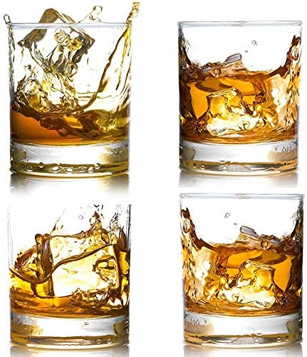 4 Pack Whiskey Glasses 12 OZ Scotch Glasses Old Fashioned Whiskey Glasses Style Glassware for product image