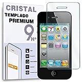 REY Protector de Pantalla para iPhone 4 / 4S Cristal Vidrio Templado Premium