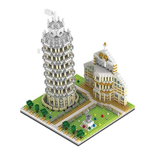 HYZM Architecture Tour penchée de Pise Jeu de Construction, 1944 Pièces Italie Architecture Modèle Blocs de Construction, Non Compatible avec Lego