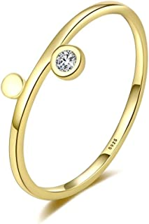 S925 placcato argento 14K anello zircone femminile semplice anello asimmetrico