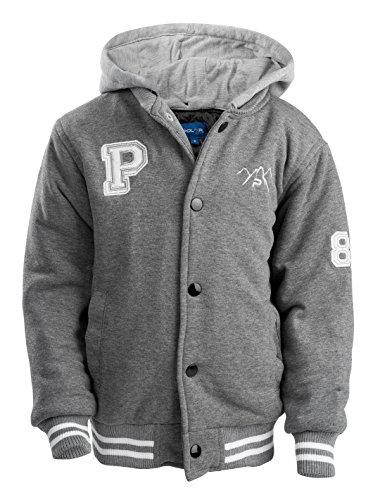 The Polar Club Toddlers' Fleece Varsity Baseball Jacket with Removable Hood 2T Gray