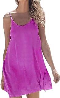 WENOVL Sexy Dresses for Women,Women Solid Sleeveless O-Neck Casual Loose Beach Mini Dress
