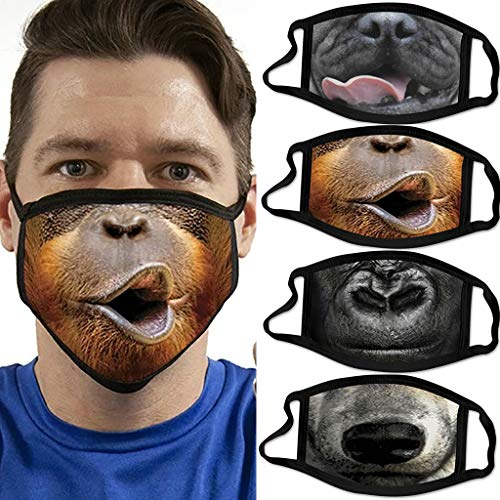 IRRIT 4PC Adult Funny Animal Printed face_mask, Washable Polyester Covers with Elastic Earloop for Coronàvịrụs Protectịon, Fοgproof Breathable Covering, for Women Men Outdoor Sports (A 4PC)