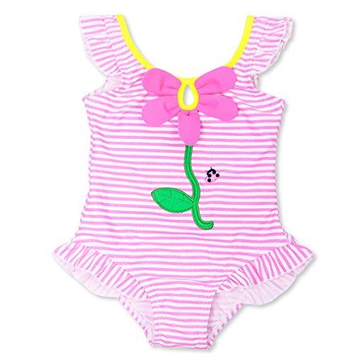 Changhants neonata di un pezzo del costume di nuoto a strisce rosa costume da bagno partita i bambini portano i vestiti di vacanza per spiaggia di estate con increspature della spalla sw0604