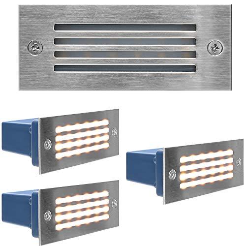 Stainless Steel Step Lights JACKYLED IP65 Waterproof LED Deck Light Indoor/Outdoor Horizontal Stair Lighting 3000K 3W UL Certified 120V for Stairway Garden Corridor Pathway 4-Pack Warm Light