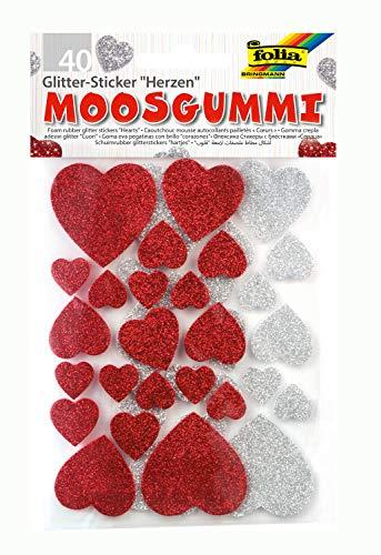 folia 23791 - Moosgummi Glitter Sticker, Herzen, sortiert in silber und rot, verschiedene Größen, 40 Stück - Ideal zum Verzieren und Dekorieren von Grußkarten usw.