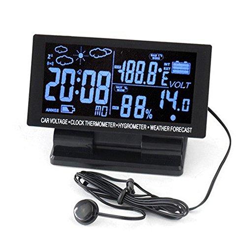 BoomBoost 1 4in Digital-Auto-Thermometer-Hygrometer-Spannungs-Taktgeber 12V LCD Wettervorhersage