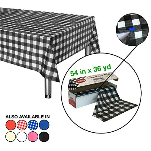 Neatiffy plastic tafelkleed, 137 cm x 32,9 m, (komt overeen met 12 stuks) Duurzame wegwerp- / herbruikbare tafelkleden, zwart-wit geruit